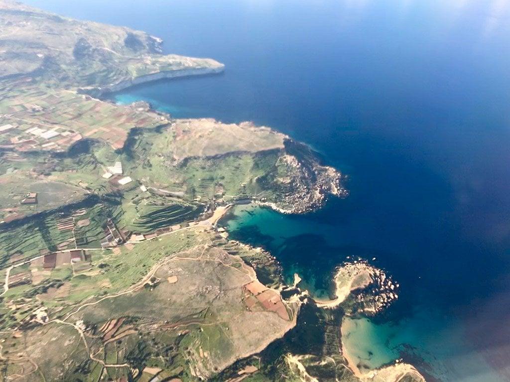 Aerial view of Malta's coast