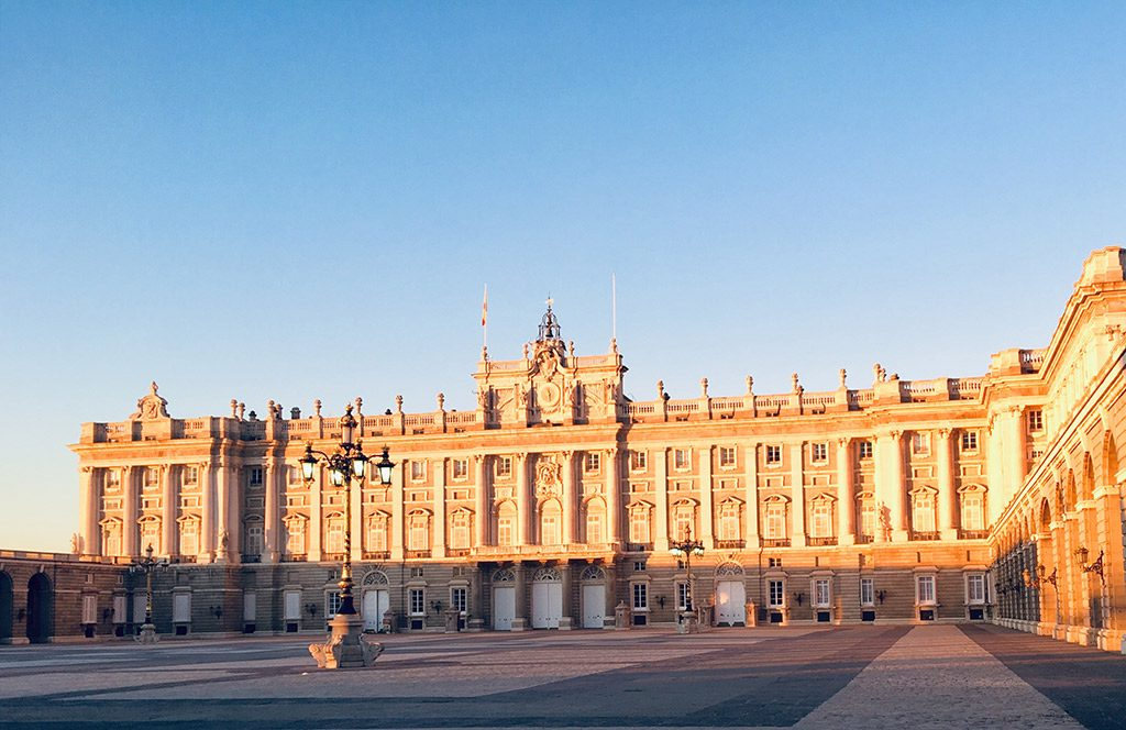 Palacio Real at sunset