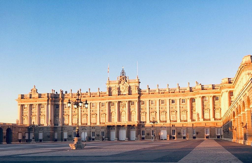 Palacio Real at sunset