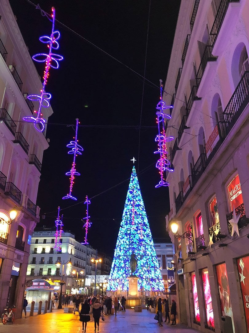 Holiday lights on the street in Madrid, purple and blue lights