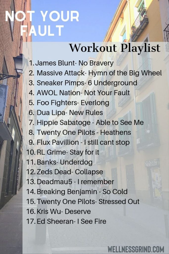Not Your Fault workout playlist Pinterest Pin.