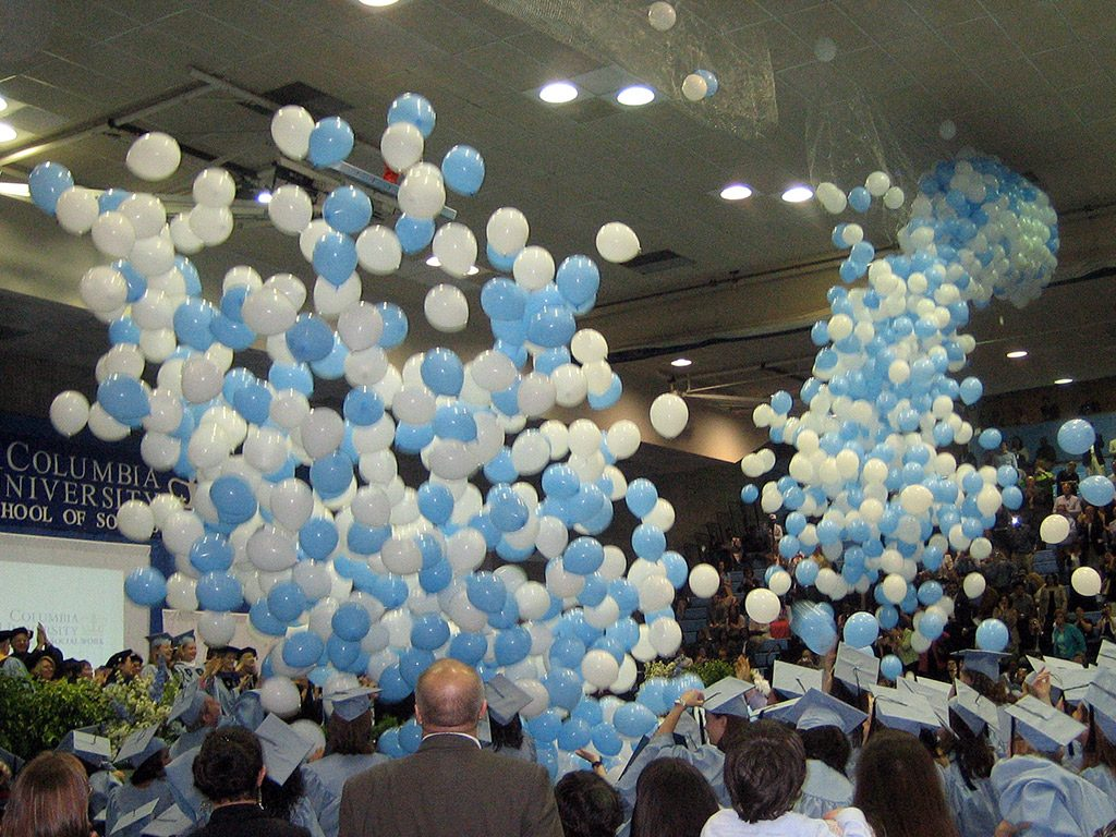 Columbia School of Social Work Graduation with balloons