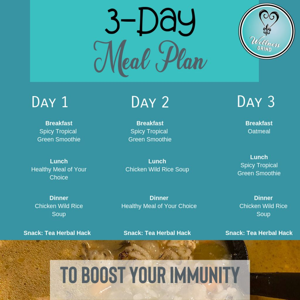 Immunity boosting 3-day meal plan.