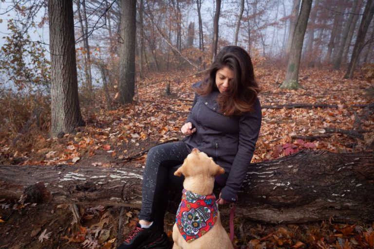 Wendie and Asha in the woods