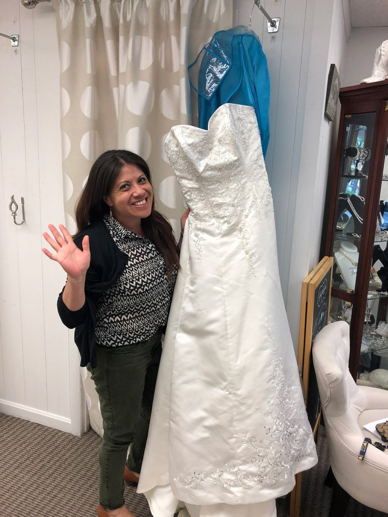 Wendie donating her wedding dress