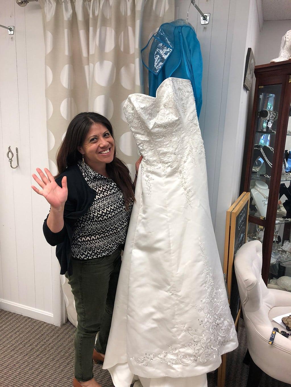 Wendie donating her wedding dress