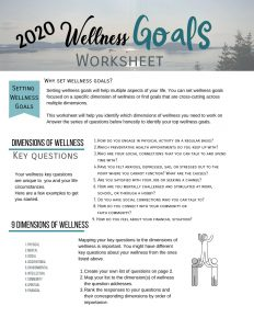 Wellness goals worksheet