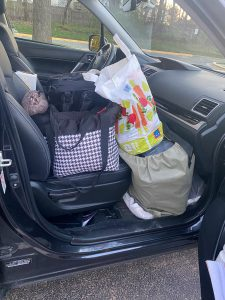 While driving, Wendie V's Subaru Forester had items in every inch of the car. Including above and below the passenger's seat.