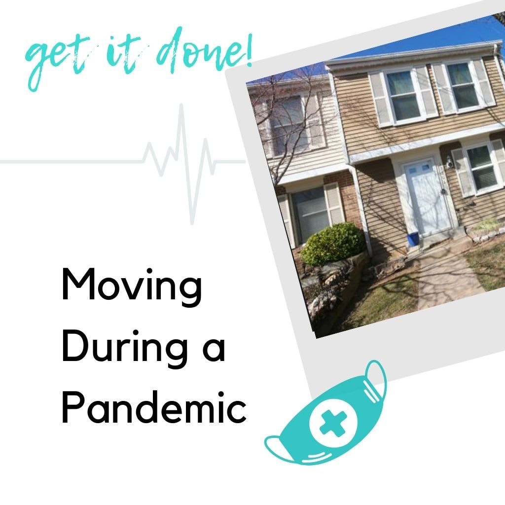 Get it done! Moving during a pandemic picture of a house with teal mask