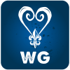 Wellness Grind icon on blue background with WG