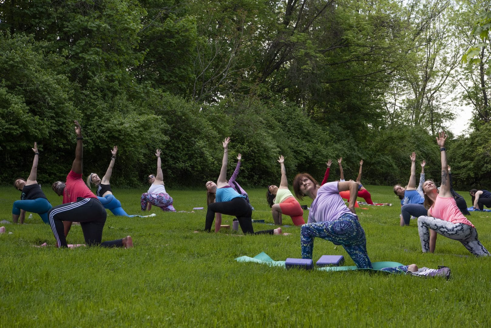 Diverse group of people doing yoga in a field with trees