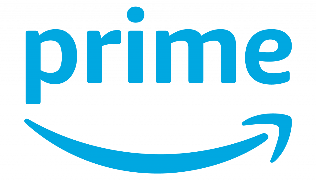 Amazon Prime logo with smile face in blue font